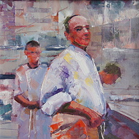Its My Kitchen   Oil 12x12 2011 by Brian  Buckrell