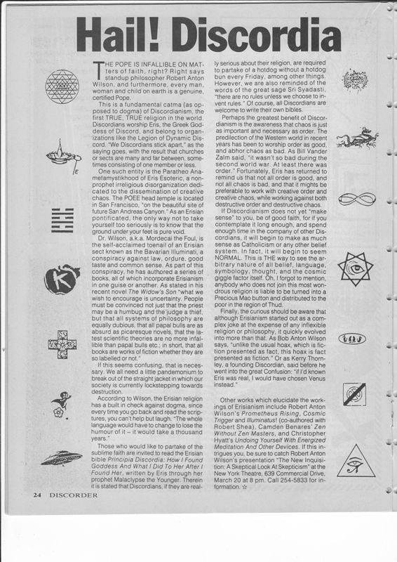 Discorder March 1987 - article by Robert Shea