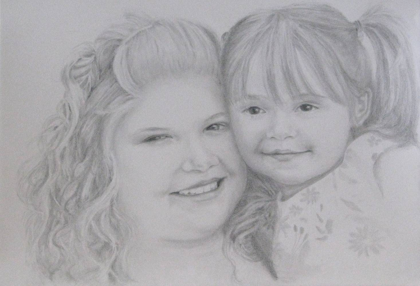 Drawing Courtney and Emma by Shannon Coyle