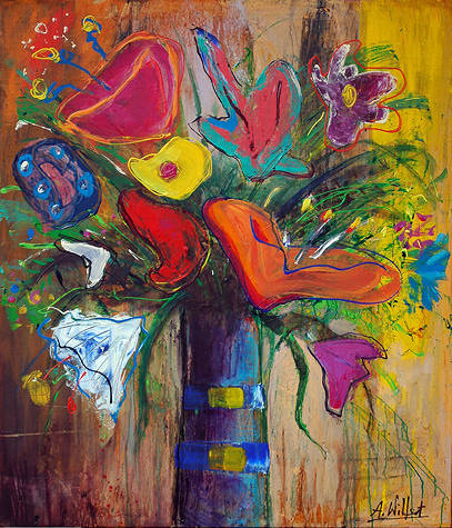 Painting Denice's flowers, 46 x 48'' by Allen  Wittert
