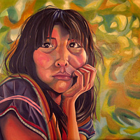 Oil painting Girl from Brazilian Rainforest by Grace ann  Piano