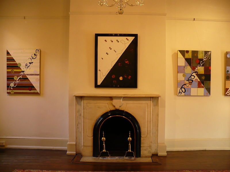 Oil painting Installation view, center: City/Country, McFeeley Galleries, Arts Club of Washington by Judy Southerland