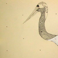 Mixed-media artwork Crane 1 by Jill  Tompkins