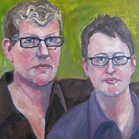 Oil painting Holly and Amy by Cody Blomberg