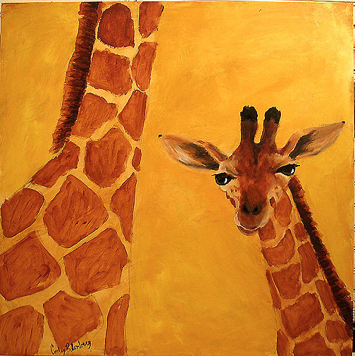 Acrylic painting Baby Giraffe with Momma by Cody Blomberg