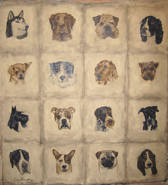 Oil painting Sixteen Dogs by Cody Blomberg