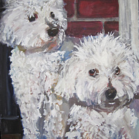 Oil painting Classy White dogs by Cody Blomberg