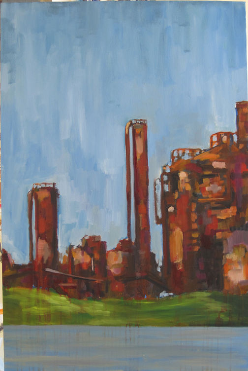 Oil painting Gasworks by Cody Blomberg