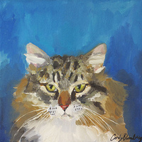 Oil painting Rocky my Kitty rip 2010 by Cody Blomberg