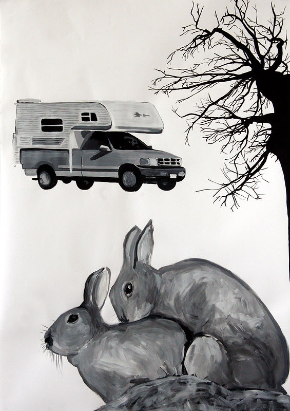 """Rabbits"" 2006. Acrylic on paper. 72 x 100 cm by Belinda Harrow"