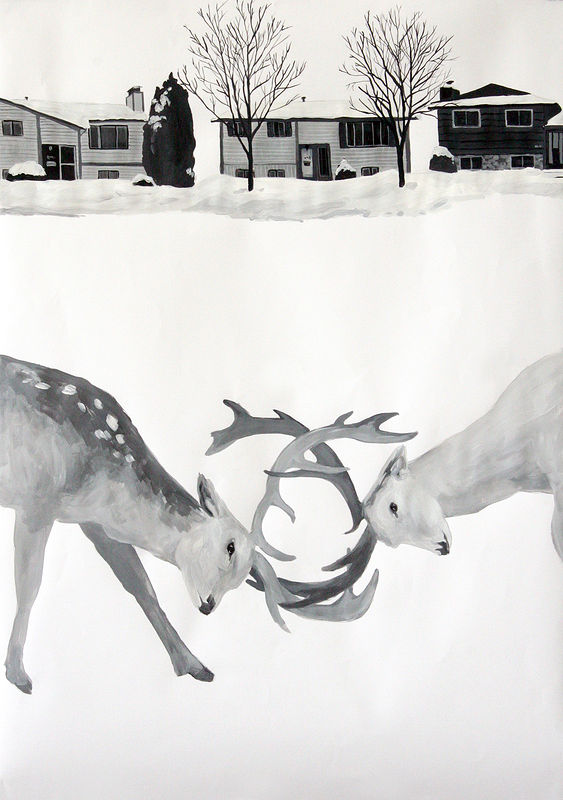 """Deer"" 2006. Acrylic on paper. 72 x 100 cm by Belinda Harrow"