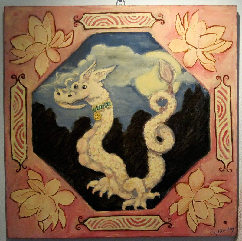 Oil painting White Dragon Pink Lotus by Cody Blomberg
