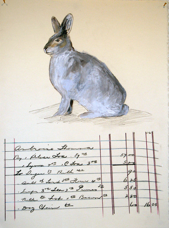 """Rabbit and Ledger"". Graphite, coloured pencil and acrylic on paper. 29 x 38 cm. 2011  by Belinda Harrow"