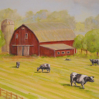HORSE MURAL - DETAIL COWS AND BARN by Cindy Scaife