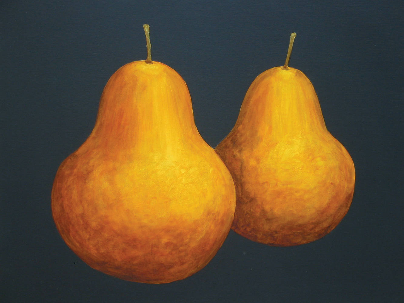 Acrylic painting 2 Big Pears by Allyson Malek
