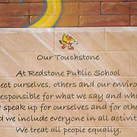 Painting Redstone P.S. - Touchstone - Faux Brick Wall and Faux Glass Plaque by Cindy Scaife