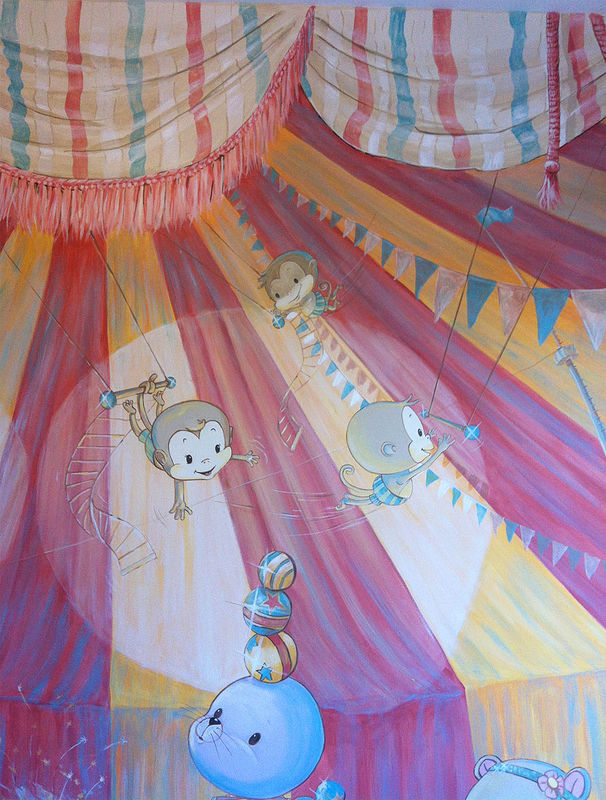 Painting CIRCUS MURAL - Detail image - Monkeys and Seal by Cindy Scaife