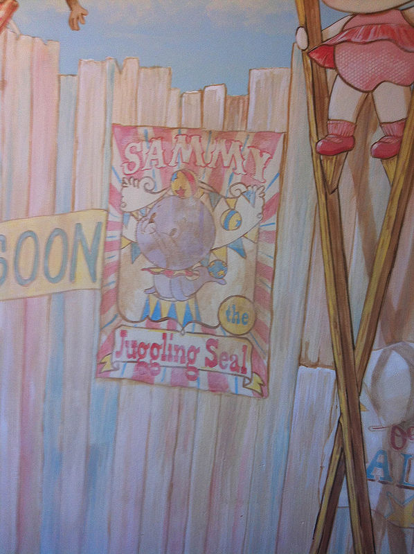 "Painting CIRCUS MURAL - Fence with Circus Posters Detail image -  ""Sammy the Seal"" Poster by Cindy Scaife"