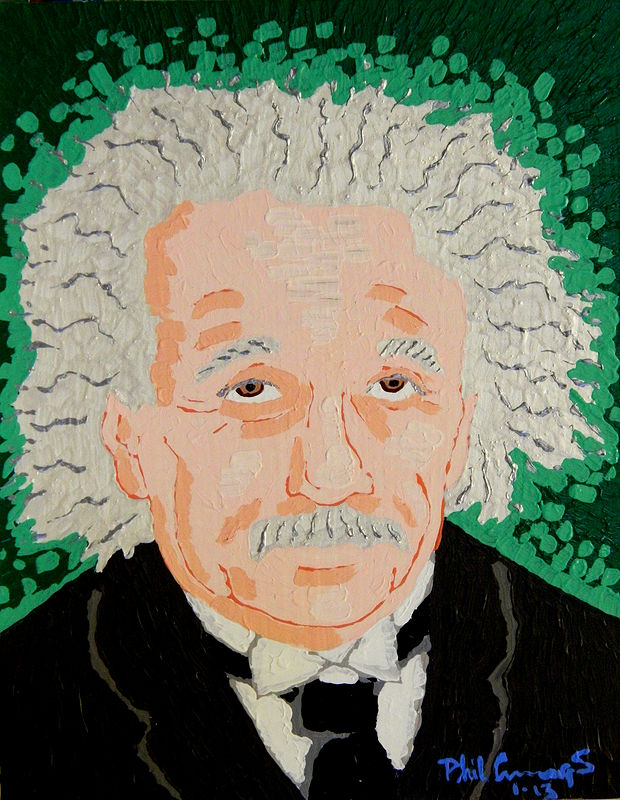 Acrylic painting Einstein by Phil Cummings