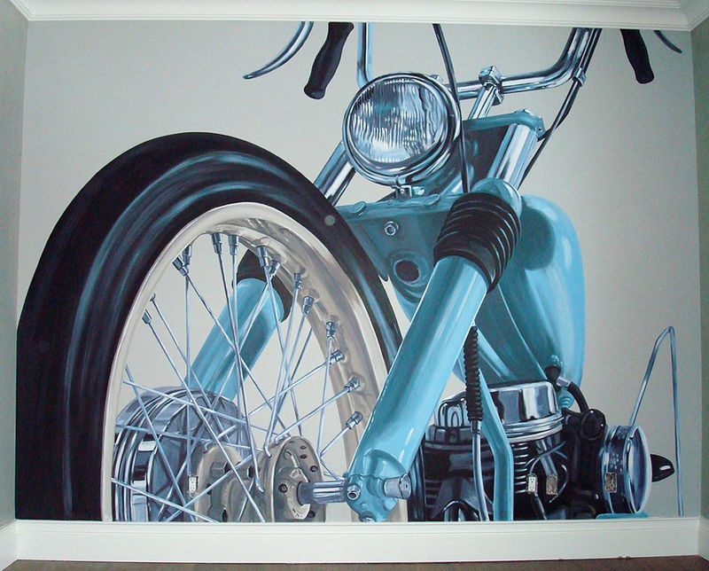 Painting Motorcycle Mural- Full view by Cindy Scaife