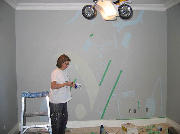 Motorcycle Mural - Progress Image by Cindy Scaife
