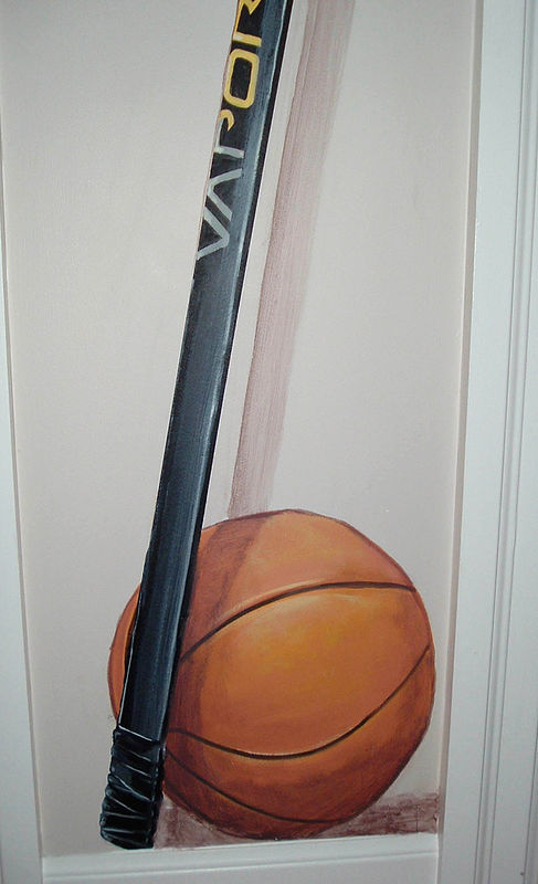 Painting Locker Room Mural - Basketball Detail View by Cindy Scaife