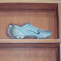 Painting Locker Room Mural - Soccer Shoes - Detail View by Cindy Scaife