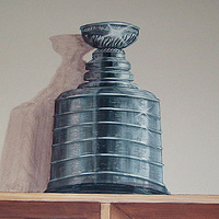 Painting Locker Room Mural - Stanley Cup - Detail View by Cindy Scaife
