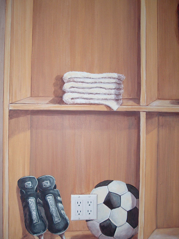 Painting Locker Room Mural - Hockey Skates and Soccer Ball - Detail View by Cindy Scaife