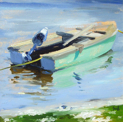 Oil painting Green Fishing Boat by Noah Verrier