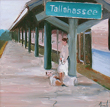Oil painting Train Tracks of Tallahassee (revisited) by Noah Verrier