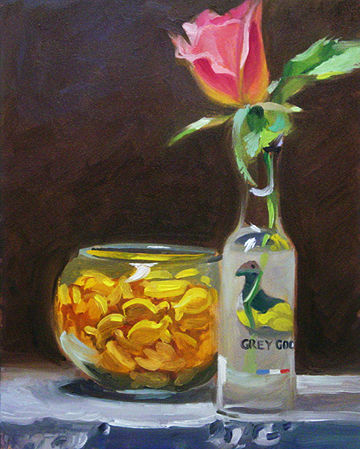 Oil painting Pink Rose and Crackers by Noah Verrier