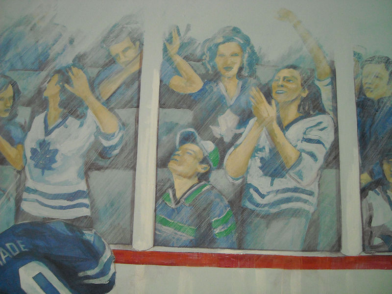 Painting Hockey Mural - Crowd Detail Image by Cindy Scaife
