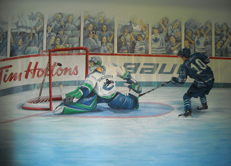 Painting Hockey Mural - Full by Cindy Scaife