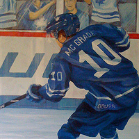 Painting Hockey Mural - Hockey Player Detail Image by Cindy Scaife