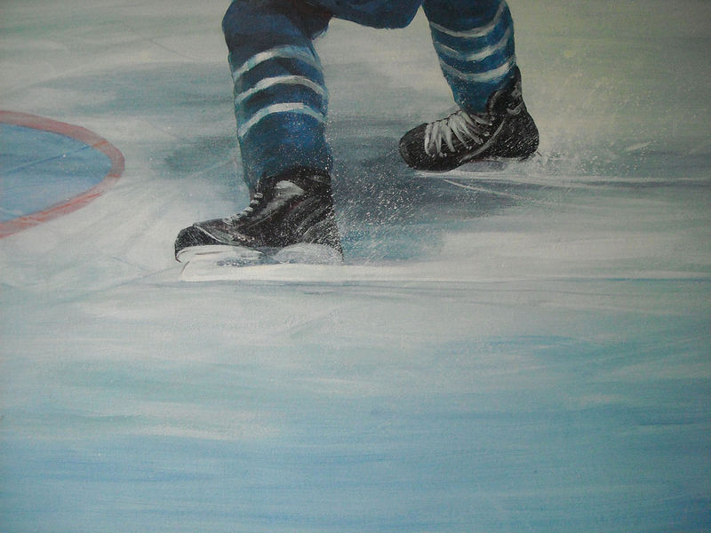 Painting Hockey Mural - Hockey Player Skates Detail Image by Cindy Scaife