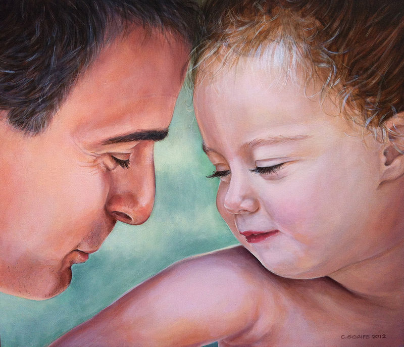 Acrylic painting Portrait - Father and Daughter by Cindy Scaife
