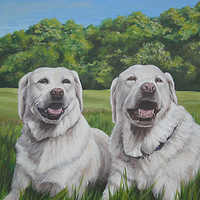 Acrylic painting Dog Painting by Cindy Scaife