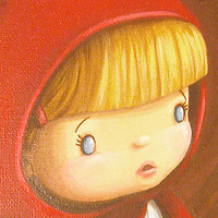 Acrylic painting Little Red Riding Hood - Detail Image by Cindy Scaife