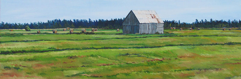 Oil painting Hay Bales on the Marsh by Michael McEwing