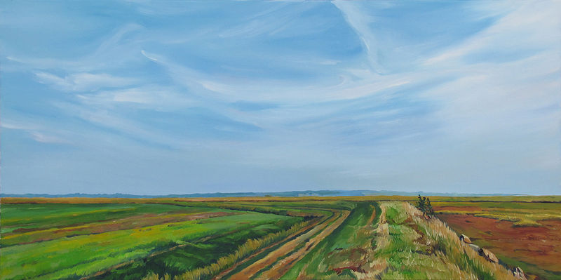 Oil painting A Walk Along the Marshland Dykes by Michael McEwing