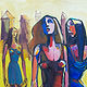 "Oil painting London Girls 46 x 42""  by Allen  Wittert"