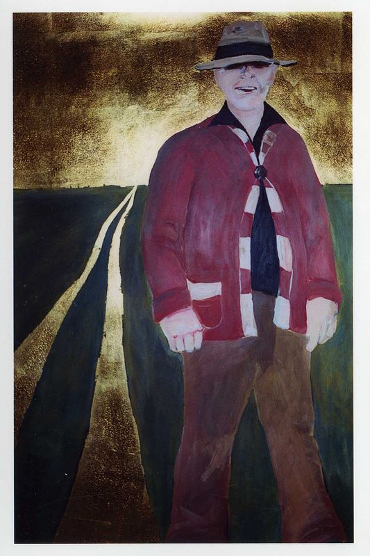 """The Father"" 2002. Acrylic on paper with gold leaf. 70 x 120 cm by Belinda Harrow"