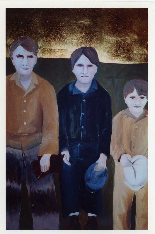 """The Boys"" 2002. Acrylic on paper with gold leaf. 70 x 120 cm by Belinda Harrow"