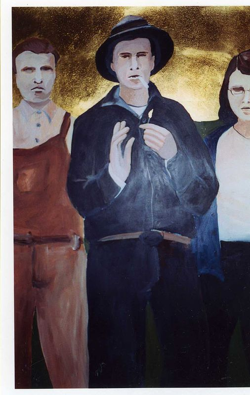 """Fred, John and Dorothy"" 2002. Acrylic on paper with gold leaf. 70 x 120 cm by Belinda Harrow"