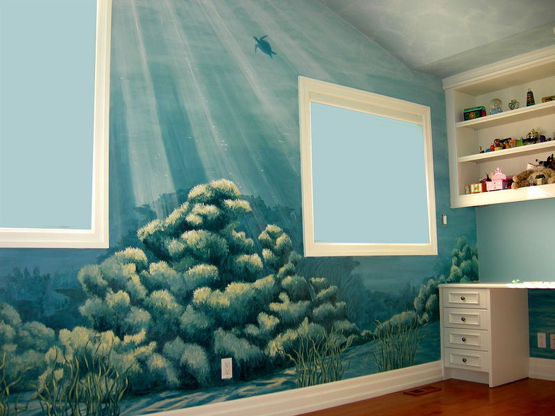 Underwater Mural - Coral and Turtle wall by Cindy Scaife