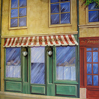Painting PARIS STREET SCENE - Detail View -Alku- Bakery by Cindy Scaife
