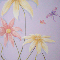 Painting Large scale Flowers with Butterflies Mural  - Kids Room by Cindy Scaife