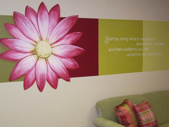 Painting Accent Wall with Flower, Colour Blocking and  Inspirational Quote by Cindy Scaife