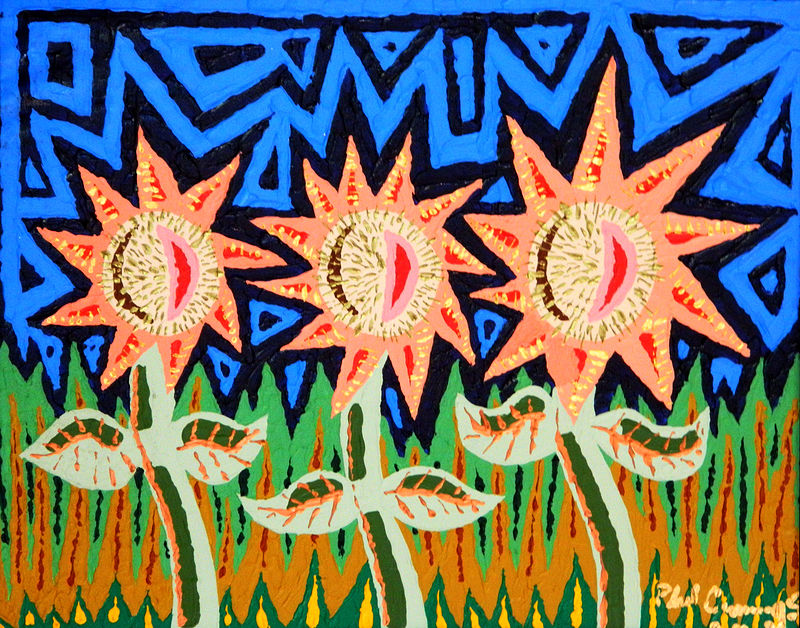 Acrylic painting Spikeflowers by Phil Cummings